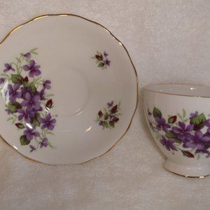 Queen Anne teacup saucer bone china violets